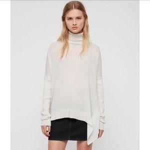 All Saints Alda Neck Roll Sweater, Cream